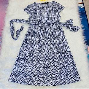 The Limited White & Blue Geometric wrap Up Dress